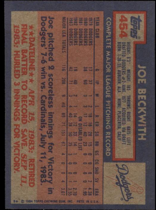 1984 Topps #454 Joe Beckwith back image