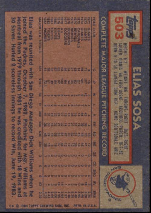 1984 Topps #503 Elias Sosa back image