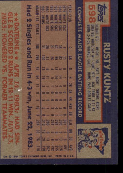 1984 Topps #598 Rusty Kuntz back image