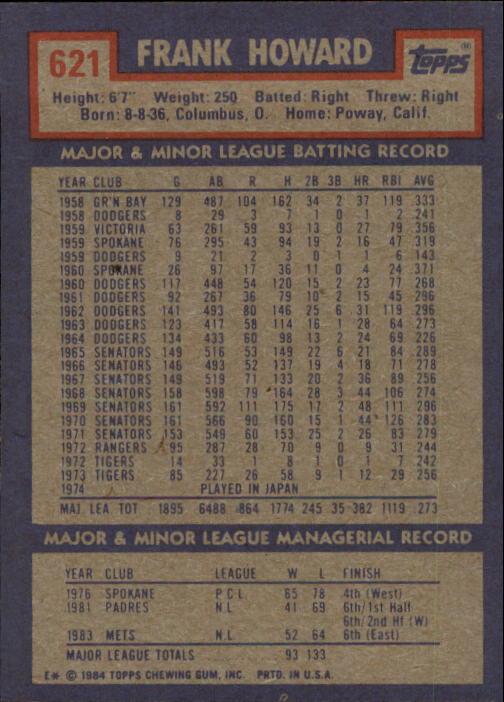 1984 Topps #621 Frank Howard MG back image