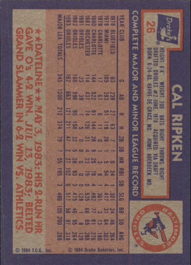 1984 Drake's #26 Cal Ripken back image