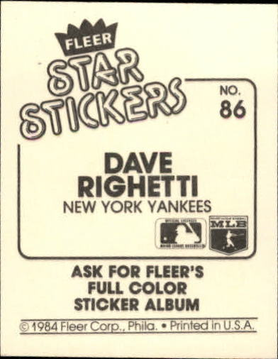 1984 Fleer Stickers #86 Dave Righetti back image