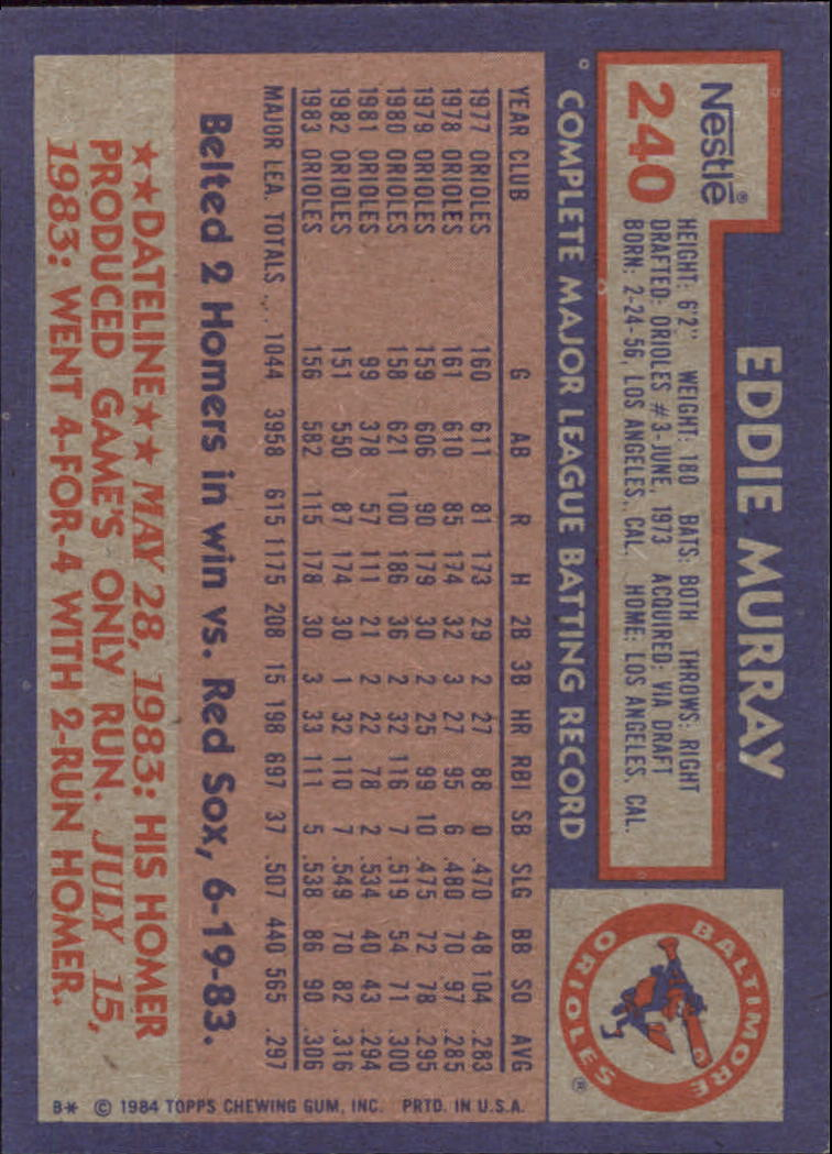 1984 Nestle 792 #240 Eddie Murray back image