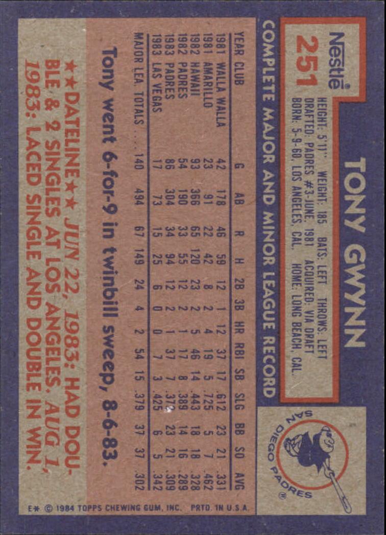 1984 Nestle 792 #251 Tony Gwynn back image