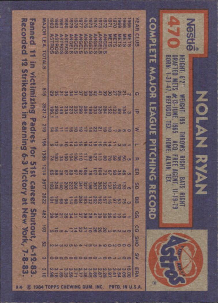 1984 Nestle 792 #470 Nolan Ryan back image