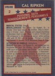 1984 O-Pee-Chee #2 Cal Ripken AS back image