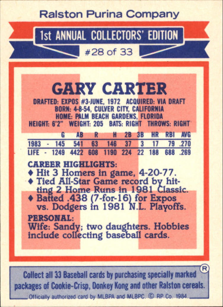 1984 Ralston Purina #28 Gary Carter back image