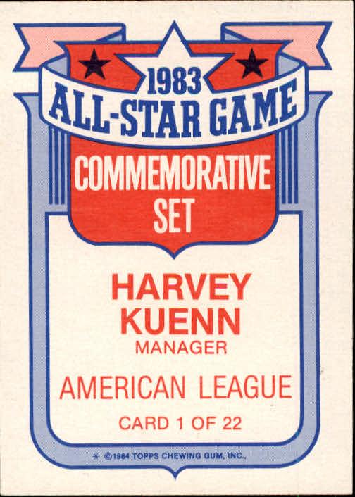 1984 Topps Glossy All-Stars #1 Harvey Kuenn MG back image