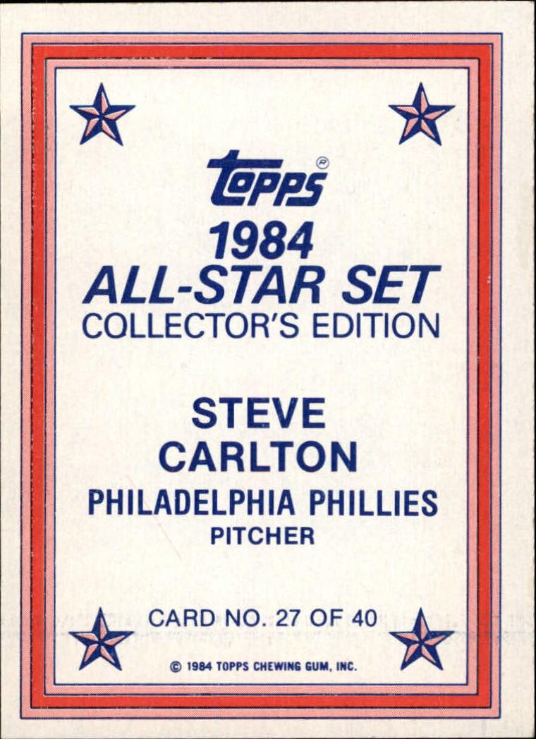 1984 Topps Glossy Send-Ins #27 Steve Carlton back image