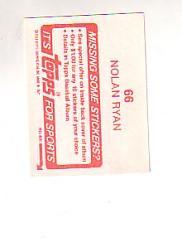 1984 Topps Stickers #66 Nolan Ryan back image