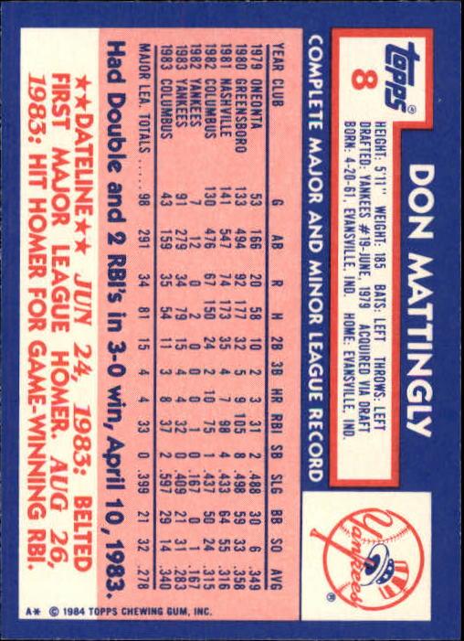 1984 Topps Tiffany #8 Don Mattingly back image