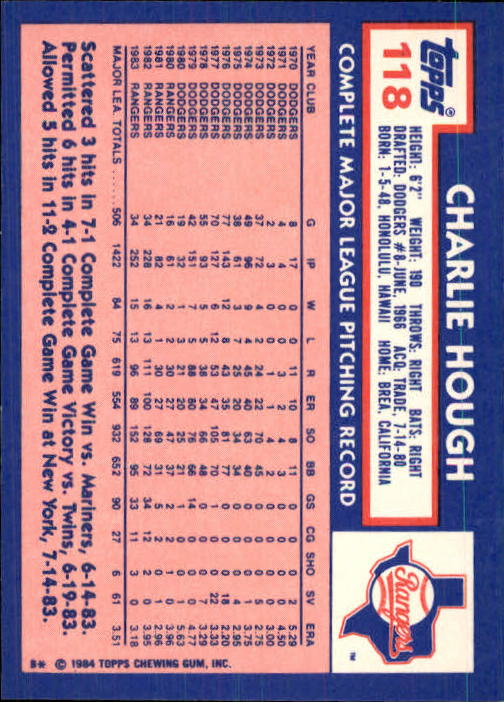1984 Topps Tiffany #118 Charlie Hough back image
