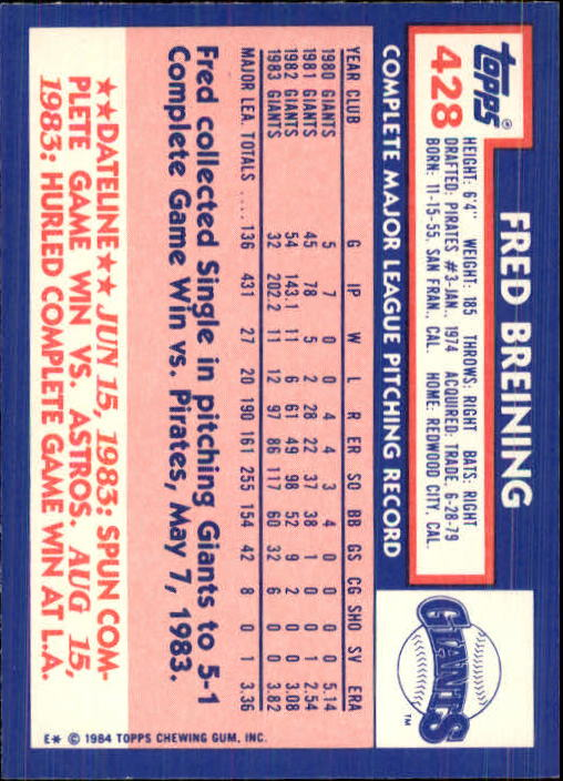 1984 Topps Tiffany #428 Fred Breining back image