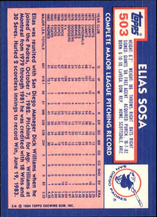 1984 Topps Tiffany #503 Elias Sosa back image