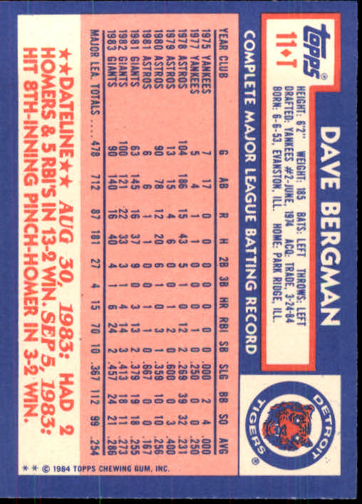1984 Topps Traded #11T Dave Bergman back image