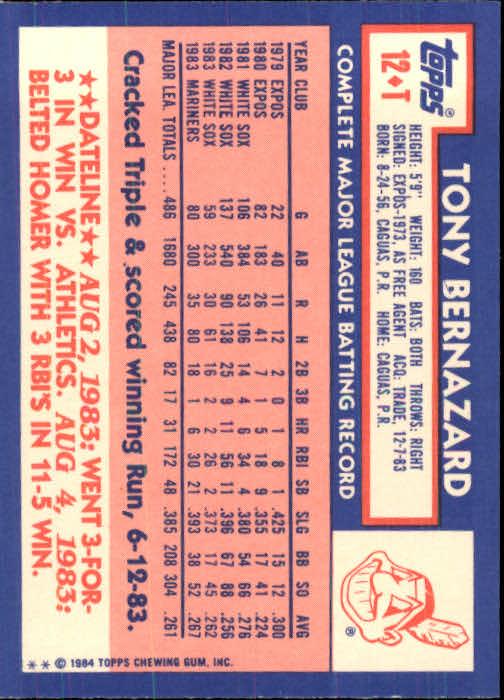 1984 Topps Traded #12T Tony Bernazard back image
