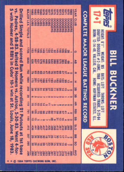 1984 Topps Traded #17T Bill Buckner back image