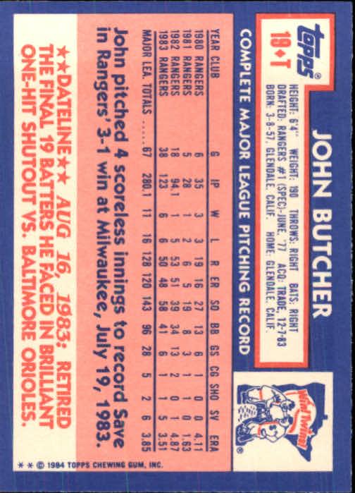 1984 Topps Traded #19T John Butcher back image