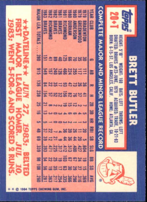 1984 Topps Traded #20T Brett Butler back image