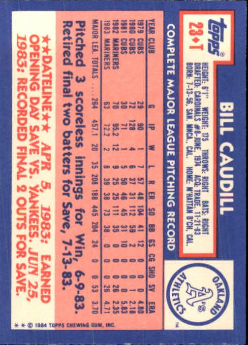 1984 Topps Traded #23T Bill Caudill back image