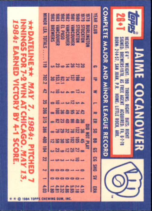 1984 Topps Traded #26T Jaime Cocanower XRC back image