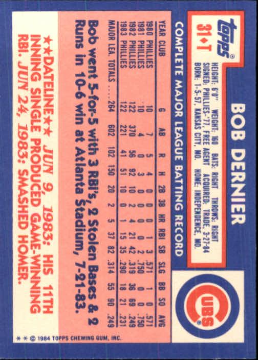 1984 Topps Traded #31T Bob Dernier back image