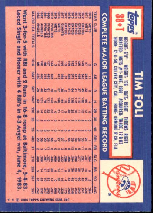 1984 Topps Traded #38T Tim Foli back image