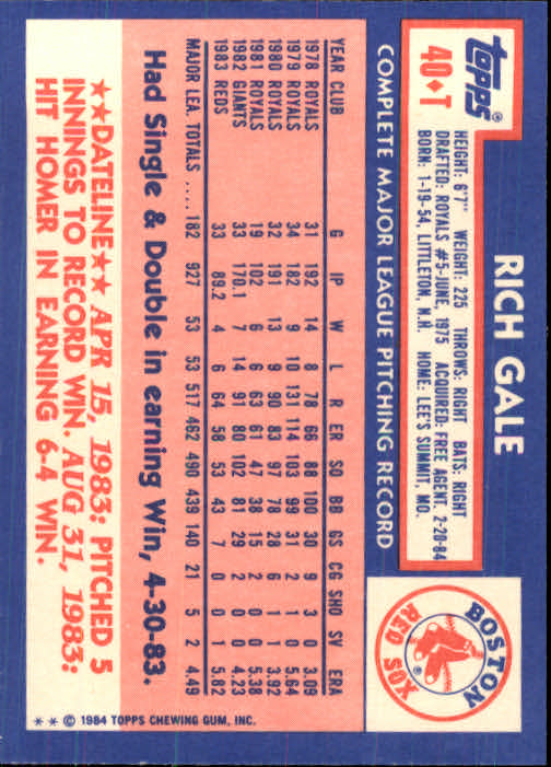 1984 Topps Traded #40T Rich Gale back image