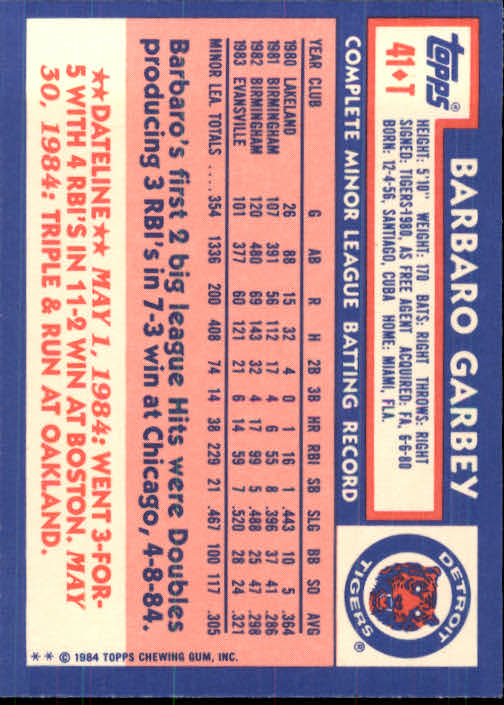 1984 Topps Traded #41T Barbaro Garbey XRC back image