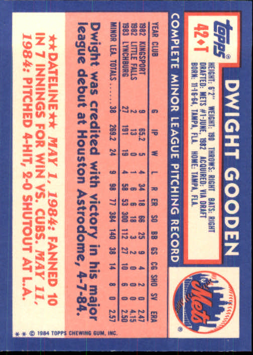 1984 Topps Traded #42T Dwight Gooden XRC back image