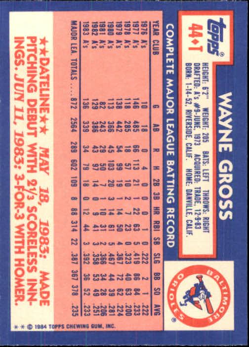 1984 Topps Traded #44T Wayne Gross back image