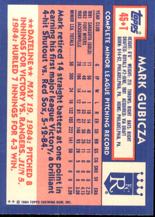 1984 Topps Traded #45T Mark Gubicza XRC back image
