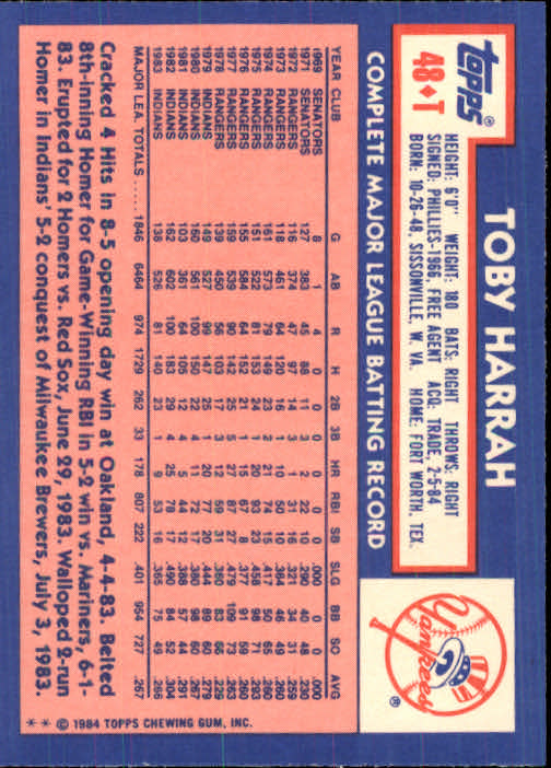 1984 Topps Traded #48T Toby Harrah back image