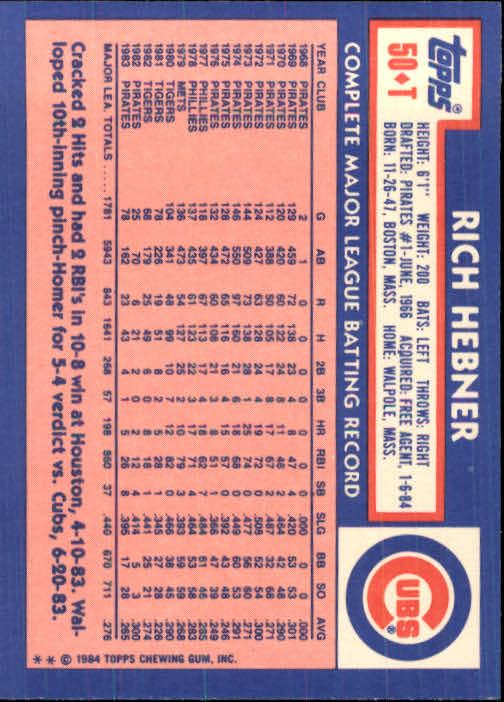 1984 Topps Traded #50T Rich Hebner back image