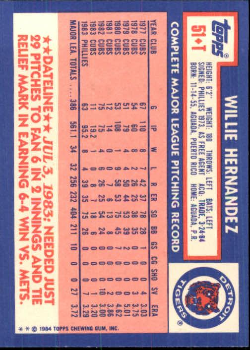 1984 Topps Traded #51T Willie Hernandez back image