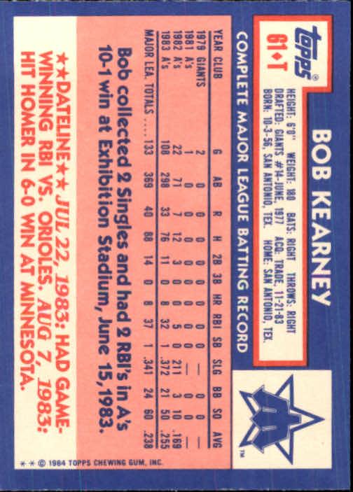 1984 Topps Traded #61T Bob Kearney back image