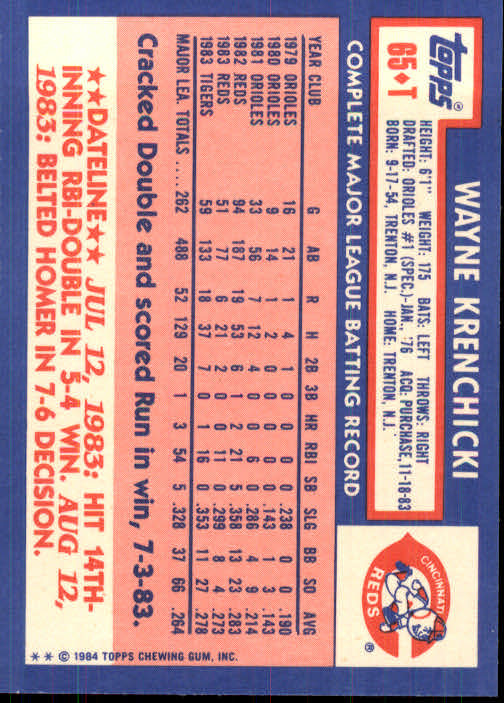 1984 Topps Traded #65T Wayne Krenchicki back image
