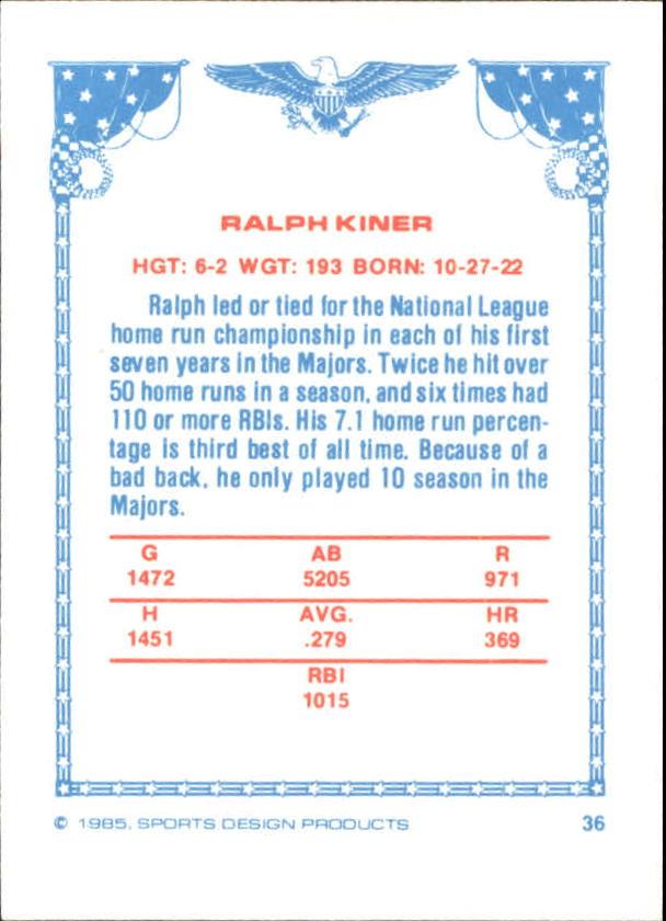1984-85 Sports Design Products West #36 Ralph Kiner back image