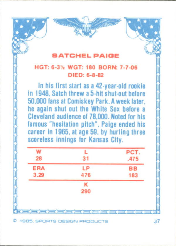 1984-85 Sports Design Products West #37 Satchel Paige back image