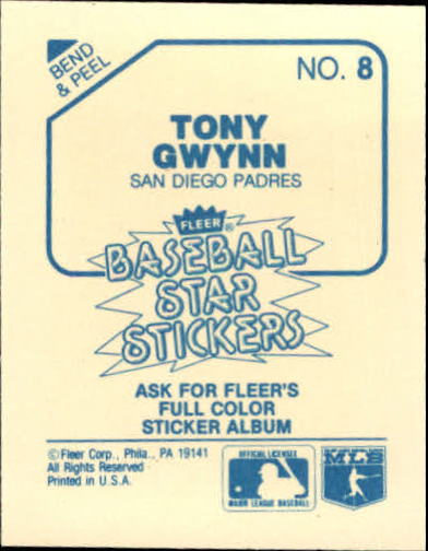 1985 Fleer Star Stickers #8 Tony Gwynn back image