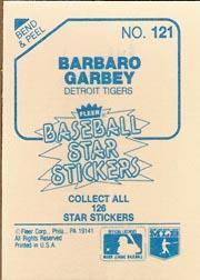 1985 Fleer Star Stickers #121 Barbaro Garbey back image