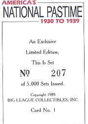 1985 Big League Collectibles 30s #1 Title Card