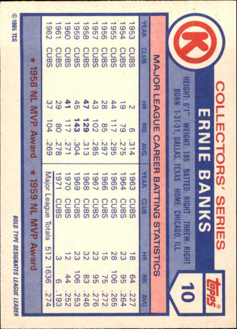1985 Circle K #10 Ernie Banks back image
