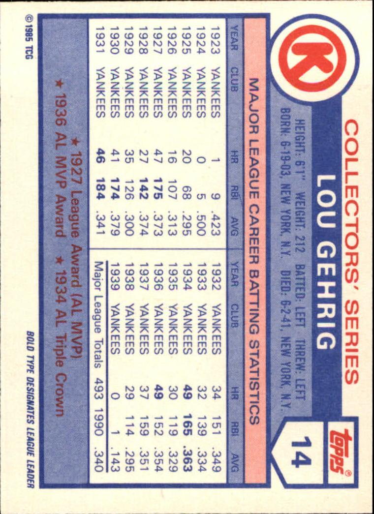 1985 Circle K #14 Lou Gehrig back image