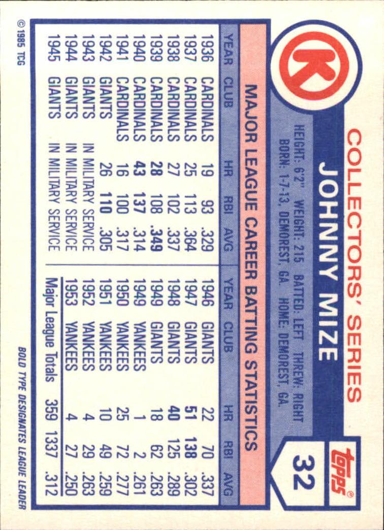 1985 Circle K #32 Johnny Mize back image