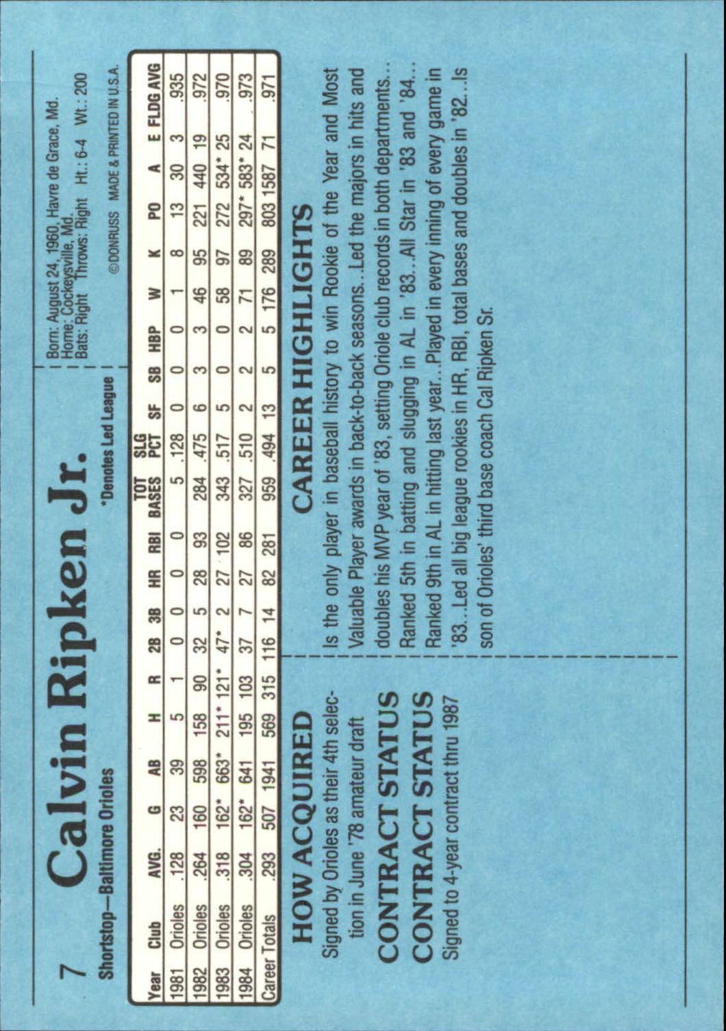 1985 Donruss Action All-Stars #7 Cal Ripken back image