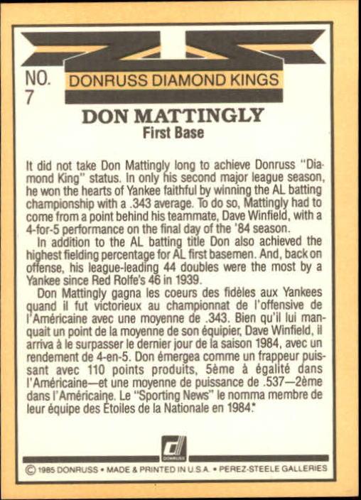 1985 Leaf/Donruss #7 Don Mattingly DK back image
