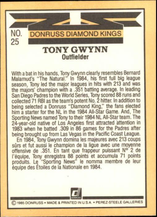 1985 Leaf/Donruss #25 Tony Gwynn DK back image