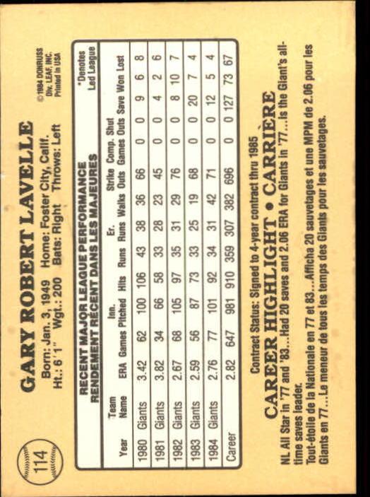 1985 Leaf/Donruss #114 Gary Lavelle back image