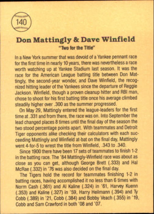 1985 Leaf/Donruss #140 Dave Winfield/Don Mattingly/Two for the Title back image